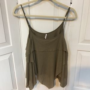Free People Green Cropped Flouncy Top Small